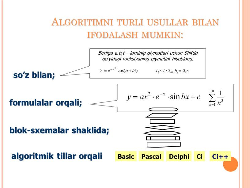 Algoritimni turli usullar bilan ifodalash mumkin: so'z bilan; formulalar orqali; blok-sxemalar shaklida; algoritmik tillar orqali