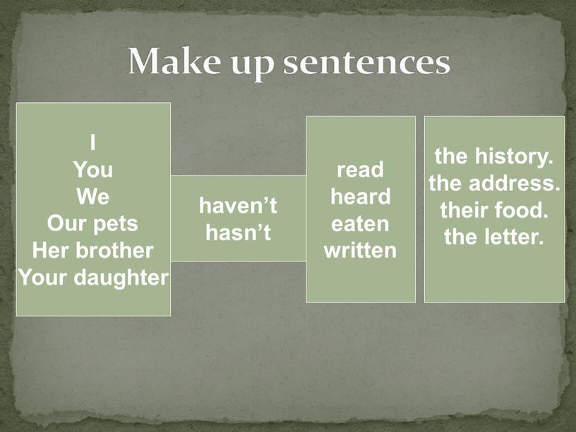 Make up sentences I You We Our pets