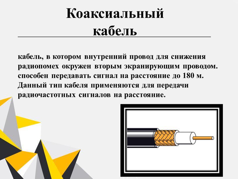 Коаксиальный кабель кабель, в котором внутренний провод для снижения радиопомех окружен вторым экранирующим проводом