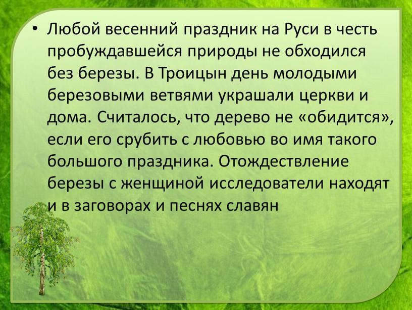 Любой весенний праздник на Руси в честь пробуждавшейся природы не обходился без березы