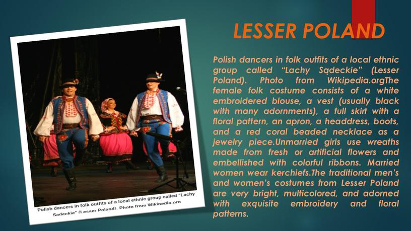 """LESSER POLAND Polish dancers in folk outfits of a local ethnic group called """"Lachy"""