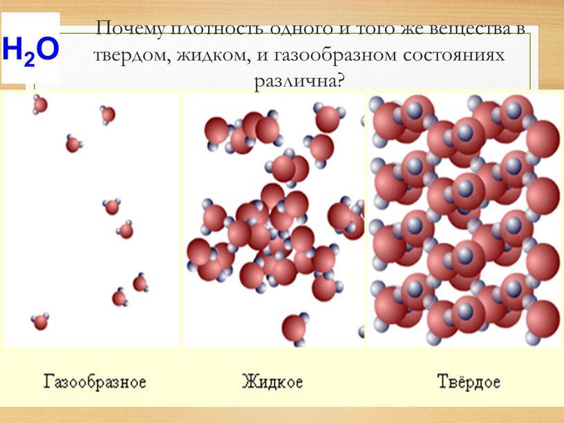 Почему плотность одного и того же вещества в твердом, жидком, и газообразном состояниях различна?