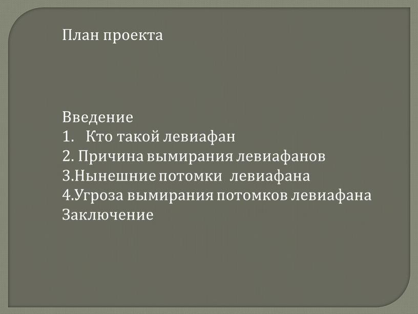 План проекта Введение Кто такой левиафан 2