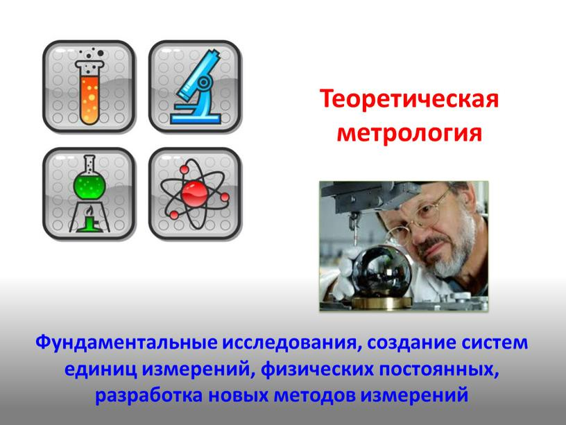 Теоретическая метрология Фундаментальные исследования, создание систем единиц измерений, физических постоянных, разработка новых методов измерений