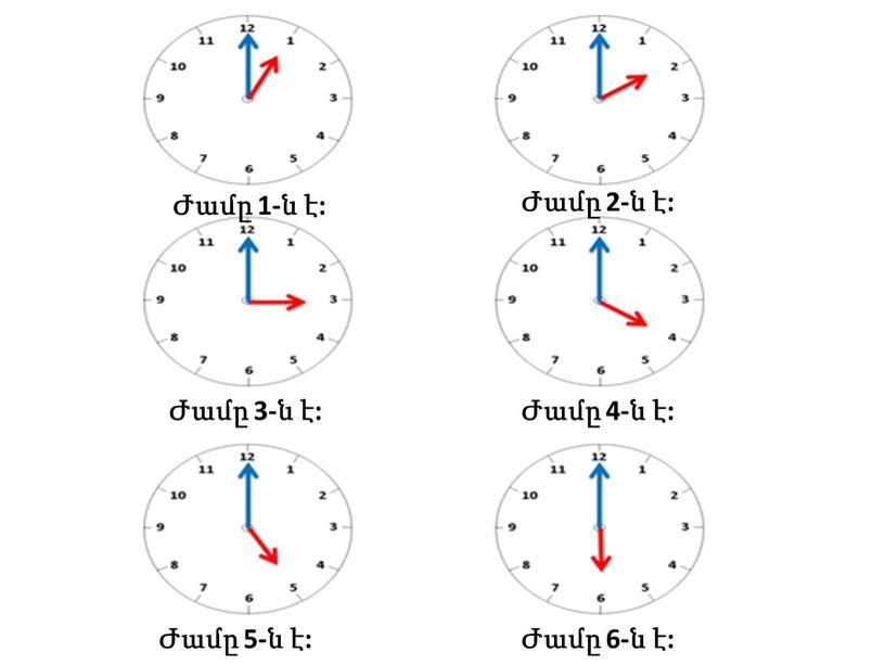 Ժամը 1-ն է: Ժամը 3-ն է: Ժամը 5-ն է: Ժամը 2-ն է: Ժամը 4-ն է: Ժամը 6-ն է: