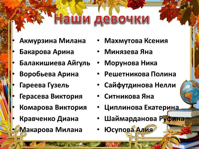 Акмурзина Милана Бакарова Арина