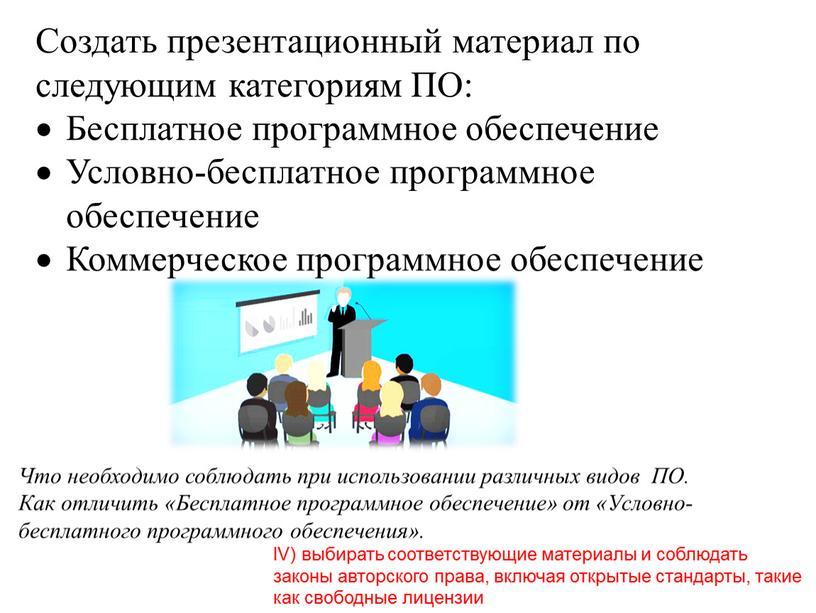 Создать презентационный материал по следующим категориям