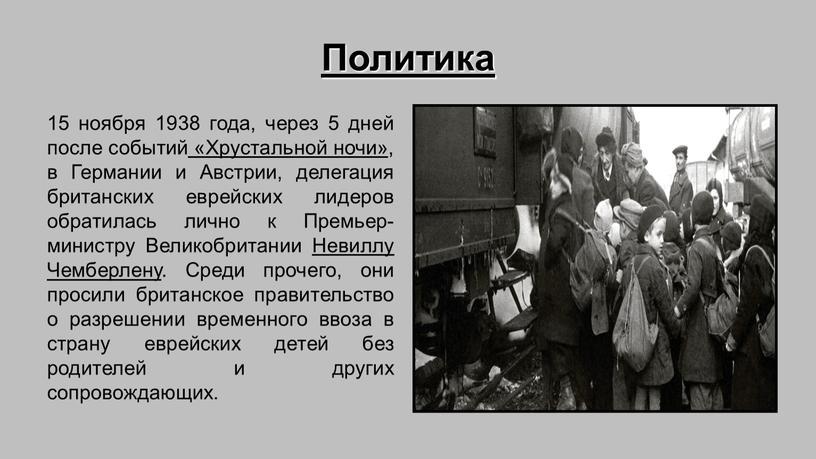 Политика 15 ноября 1938 года, через 5 дней после событий «Хрустальной ночи», в