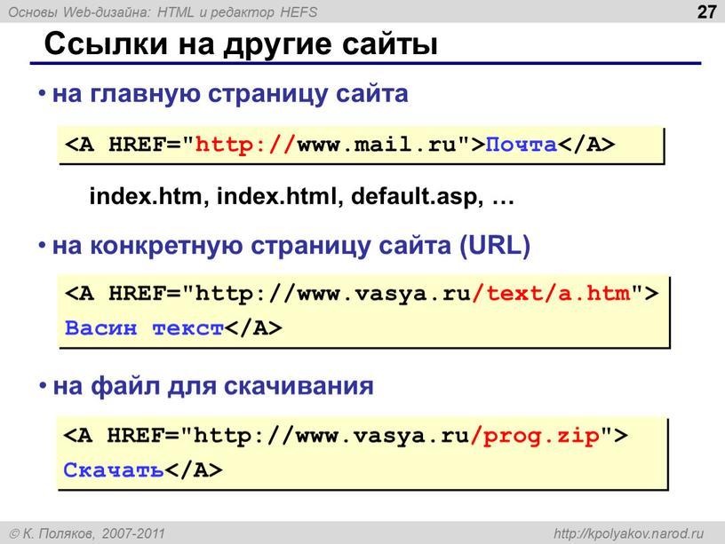 Ссылки на другие сайты Почта на главную страницу сайта index
