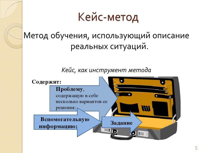 Кейс-метод Метод обучения, использующий описание реальных ситуаций