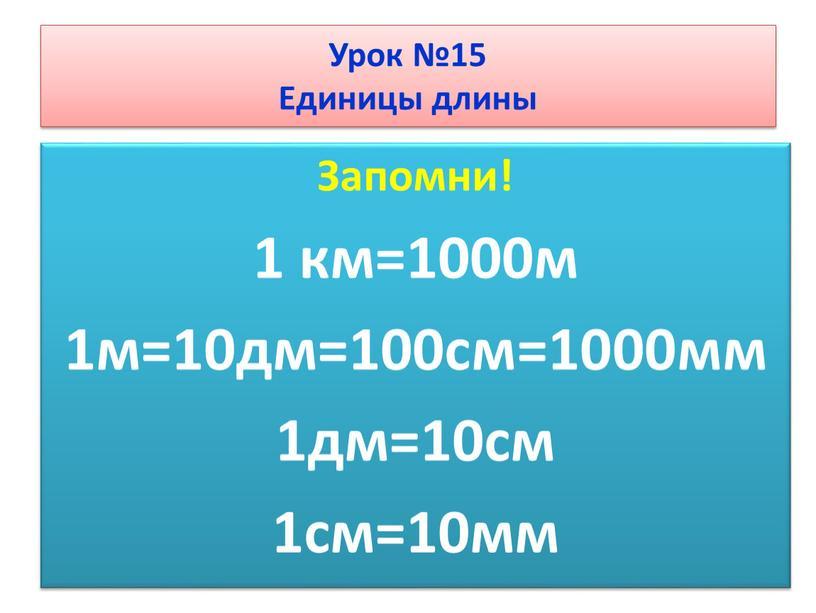 Запомни! 1 км=1000м 1м=10дм=100см=1000мм 1дм=10см 1см=10мм