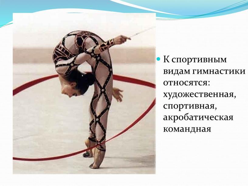 К спортивным видам гимнастики относятся: художественная, спортивная, акробатическая командная