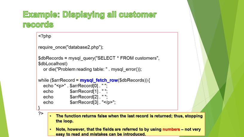 """Example: Displaying all customer records require_once(""""database2"""