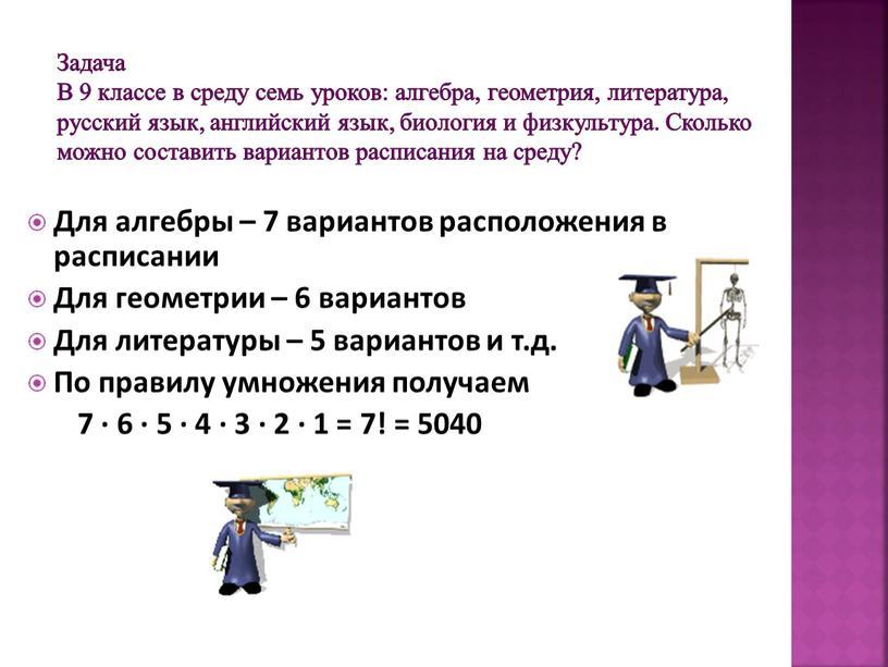 Задача В 9 классе в среду семь уроков: алгебра, геометрия, литература, русский язык, английский язык, биология и физкультура