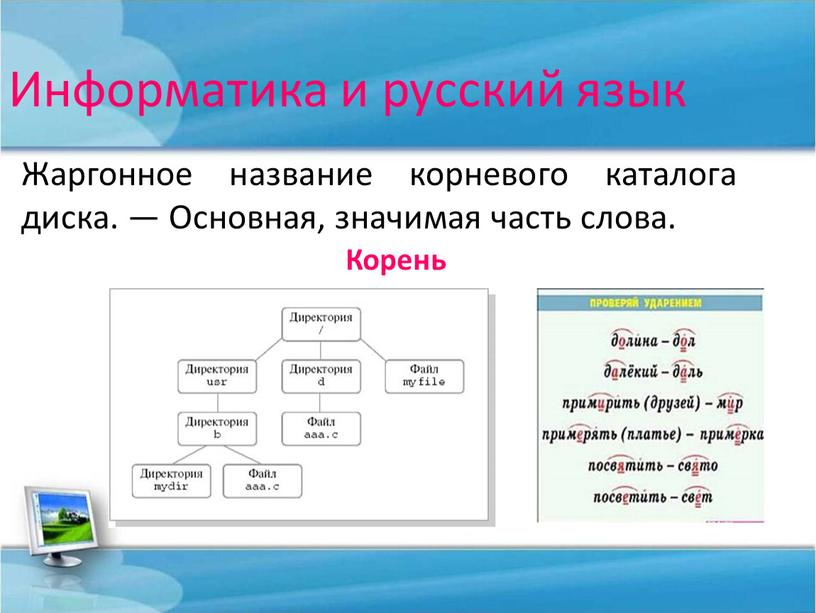 Информатика и русский язык Жаргонное название корневого каталога диска
