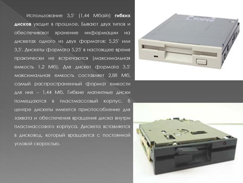 Использование 3,5' (1,44 Мбайт) гибких дисков уходит в прошлое