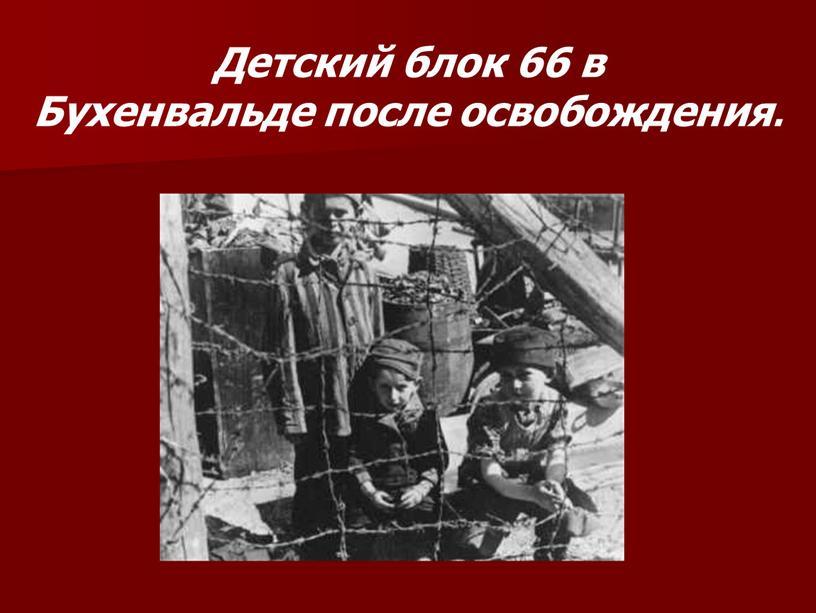 Детский блок 66 в Бухенвальде после освобождения