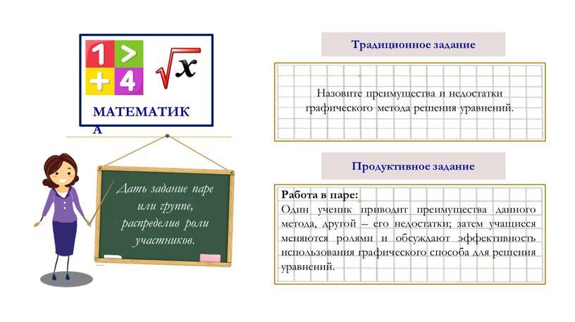 Традиционное задание Назовите преимущества и недостатки графического метода решения уравнений