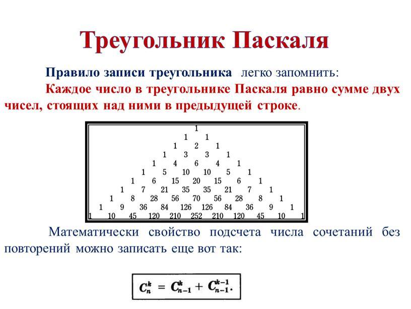 Треугольник Паскаля Правило записи треугольника легко запомнить: