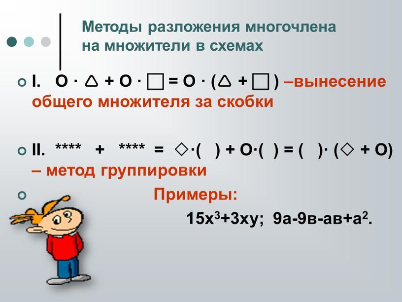 I. O ·  + O ·  = O · ( +  ) –вынесение общего множителя за скобки