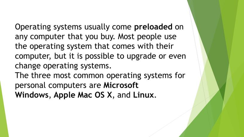 Operating systems usually come preloaded on any computer that you buy