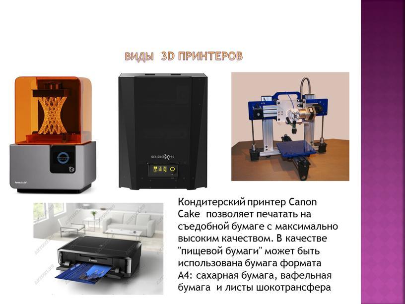 Виды 3D принтеров Кондитерский принтер
