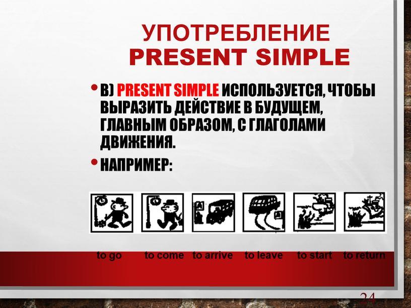 УПОТРЕБЛЕНИЕ PRESENT SIMPLE в)