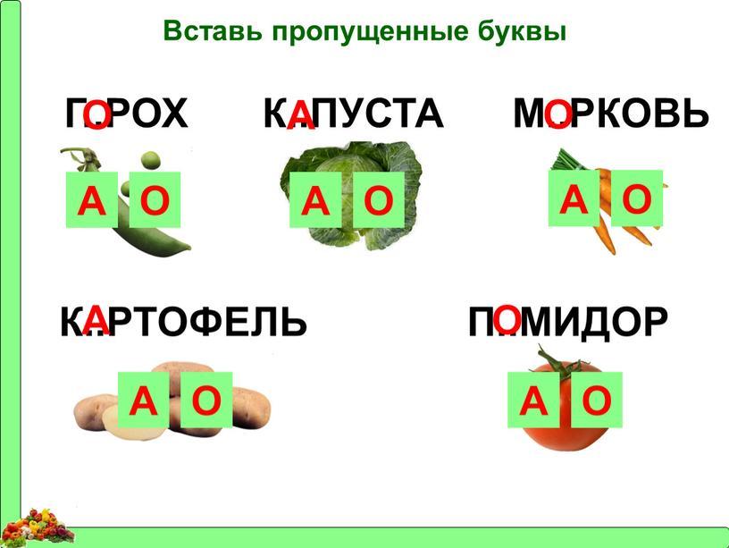 Вставь пропущенные буквы Г..РОХ