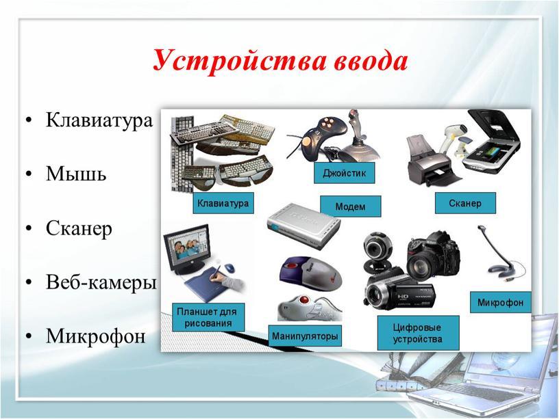 Устройства ввода Клавиатура Мышь