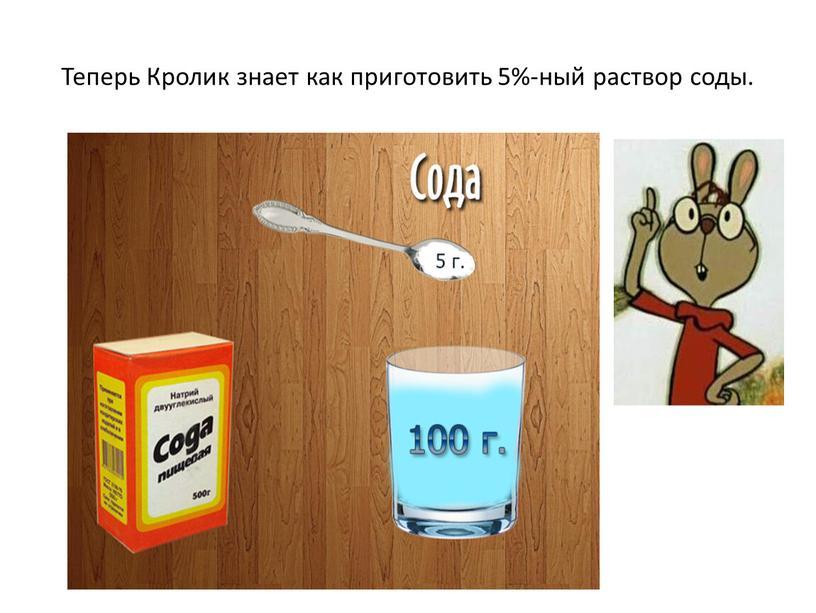 Теперь Кролик знает как приготовить 5%-ный раствор соды