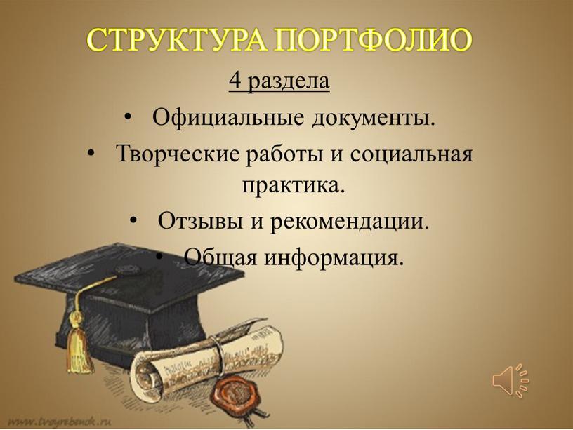 СТРУКТУРА ПОРТФОЛИО 4 раздела Официальные документы