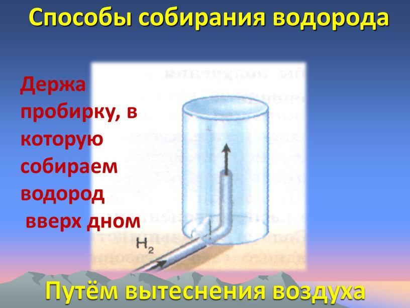 Способы собирания водорода Путём вытеснения воздуха