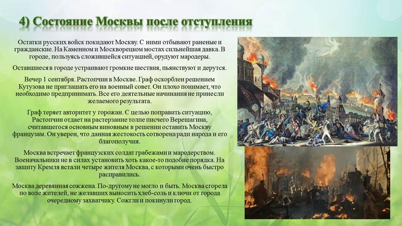Состояние Москвы после отступления
