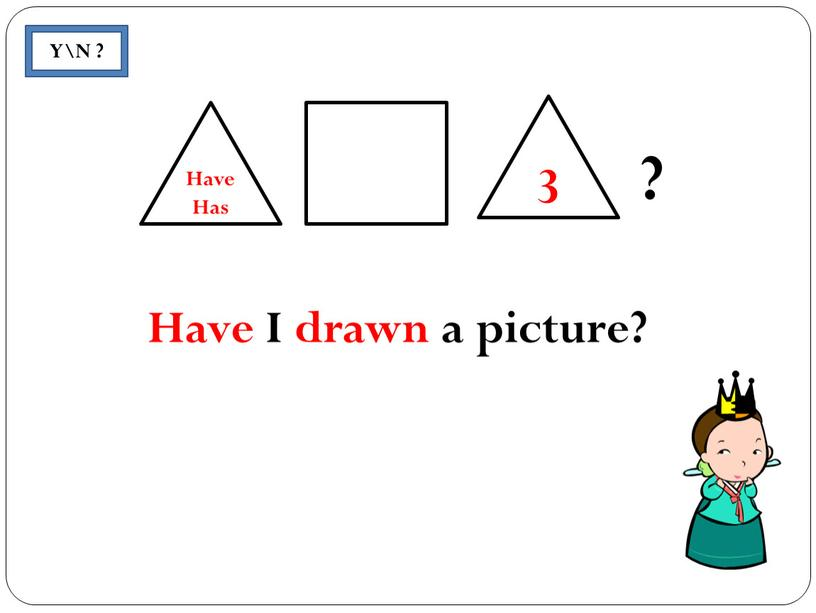 Y\N ? 3 Have Has Have I drawn a picture?