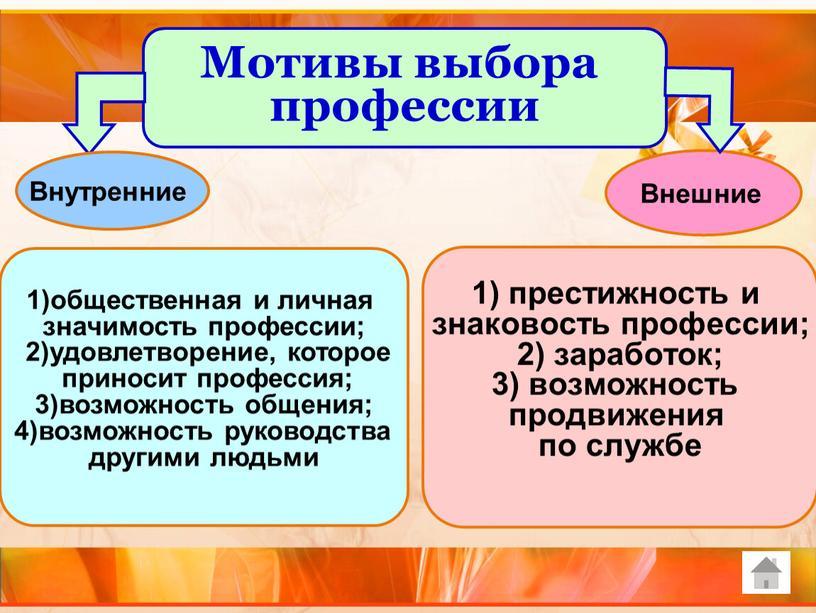Внутренние 1)общественная и личная значимость профессии; 2)удовлетворение, которое приносит профессия; 3)возможность общения; 4)возможность руководства другими людьми