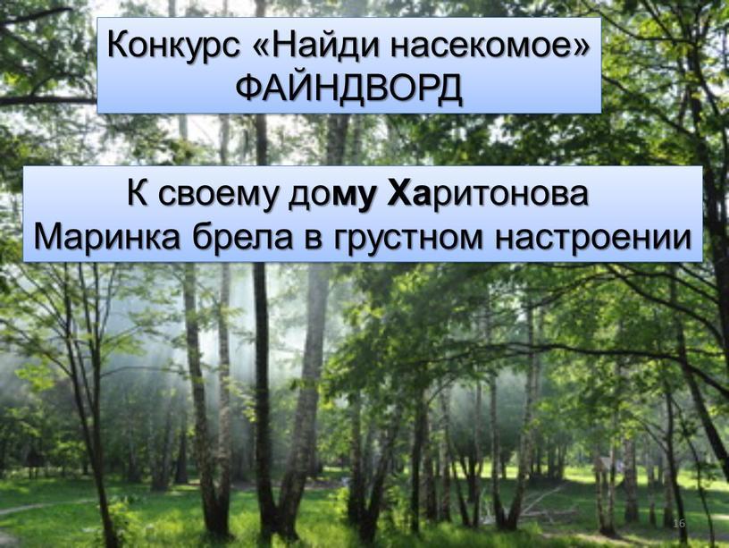 Конкурс «Найди насекомое» ФАЙНДВОРД