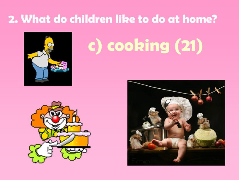 What do children like to do at home? c) cooking (21)