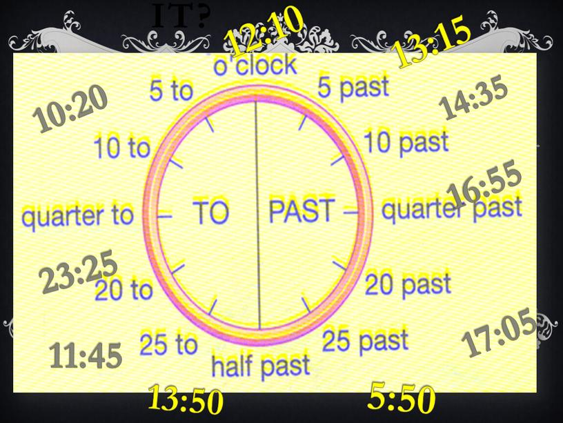 What time is it? 10:20 11:45 13:15 12:10 14:35 16:55 17:05 5:50 13:50 23:25