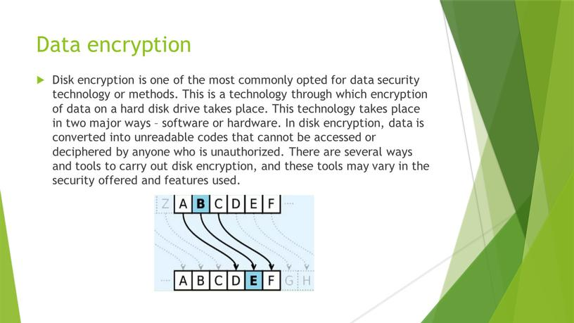 Data encryption Disk encryption is one of the most commonly opted for data security technology or methods