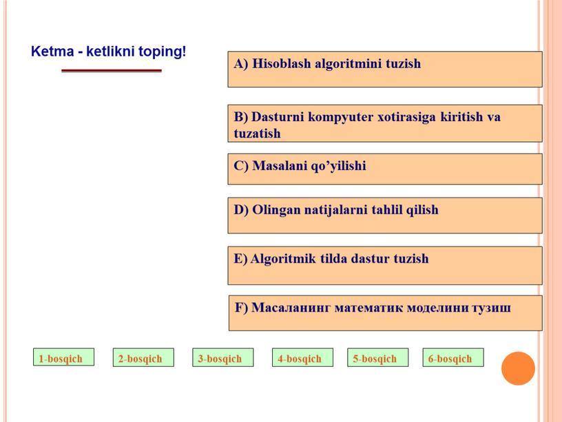 Ketma - ketlikni toping! A) Hisoblash algoritmini tuzish