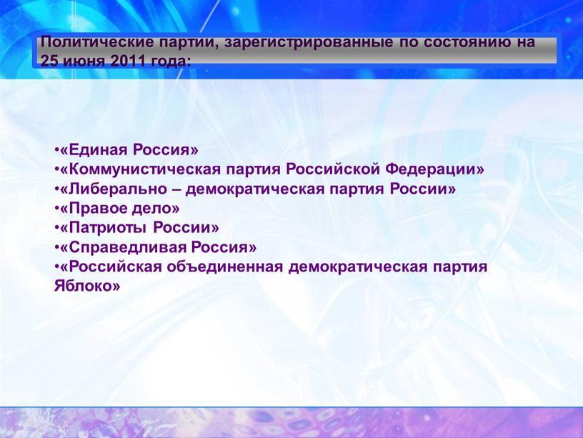 Политические партии, зарегистрированные по состоянию на 25 июня 2011 года: «Единая