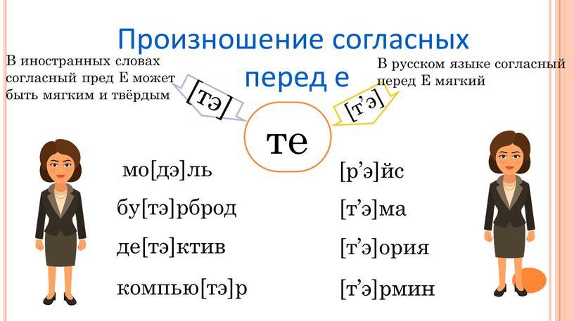Произношение согласных перед е те [тэ] бу[тэ]рброд де[тэ]ктив компью[тэ]р [т'э] [т'э]ма [т'э]ория [т'э]рмин