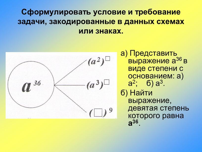 Представить выражение а36 в виде степени с основанием: а) а2; б) а3