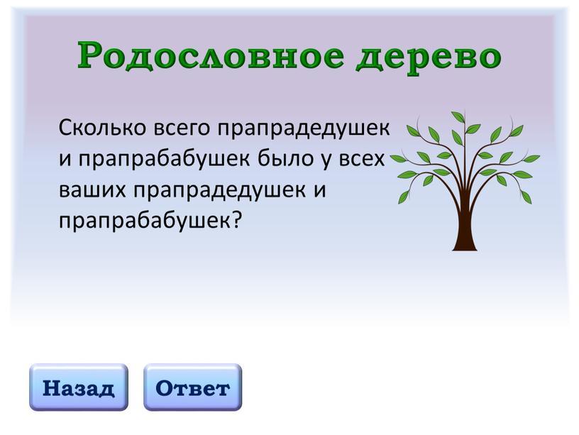 Родословное дерево Назад Ответ