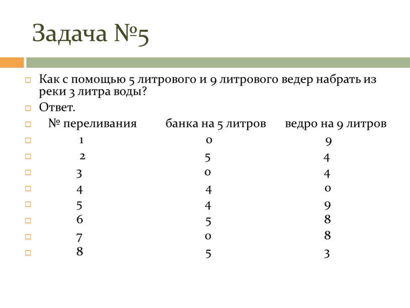Задача №5 Как с помощью 5 литрового и 9 литрового ведер набрать из реки 3 литра воды?