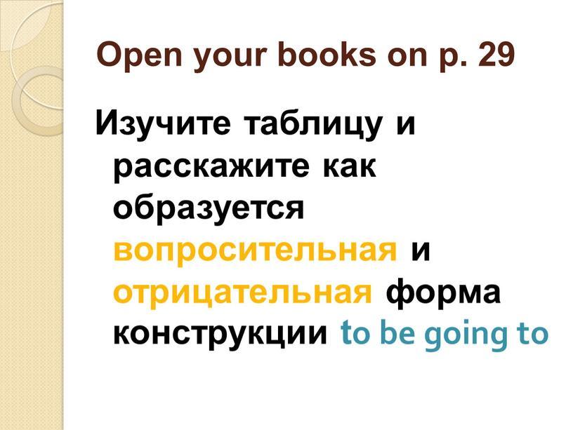 Open your books on p. 29 Изучите таблицу и расскажите как образуется вопросительная и отрицательная форма конструкции to be going to