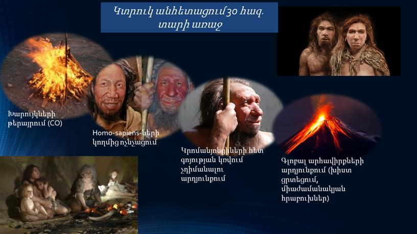 CO) Homo-sapiens-ների կողմից ոչնչացում Կրոմանյոնցիների հետ գոյության կռվում չդիմանալու արդյունքում Գլոբալ արհավիրքների արդյունքում (խիստ ցրտեցում, միաժամանակյան հրաբուխներ)