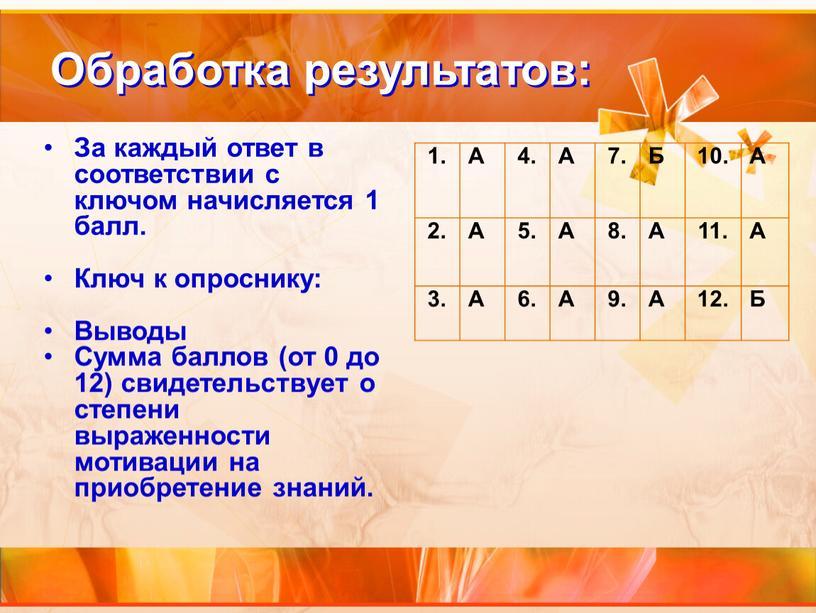 Обработка результатов: За каждый ответ в соответствии с ключом начисляется 1 балл