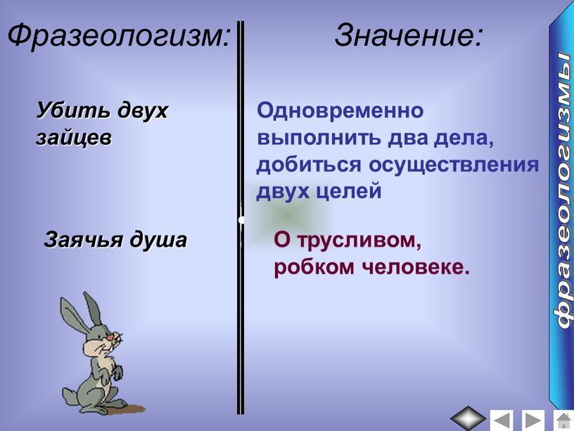 Фразеологизм: Значение: Убить двух зайцев