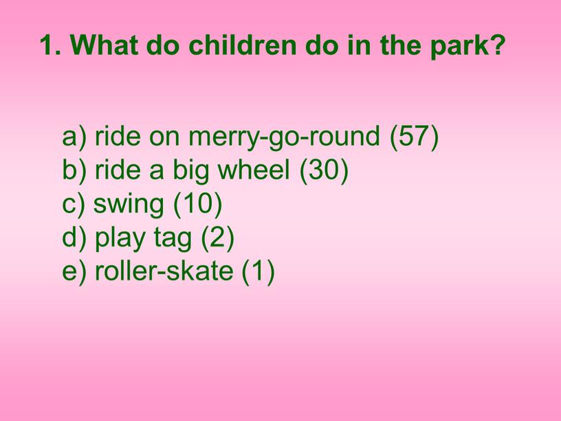What do children do in the park? ride on merry-go-round (57) b) ride a big wheel (30) c) swing (10) d) play tag (2) e)…